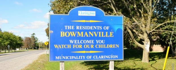 Welcome to Bowmanville Sign in Clarington, by Team Downey Real Estate