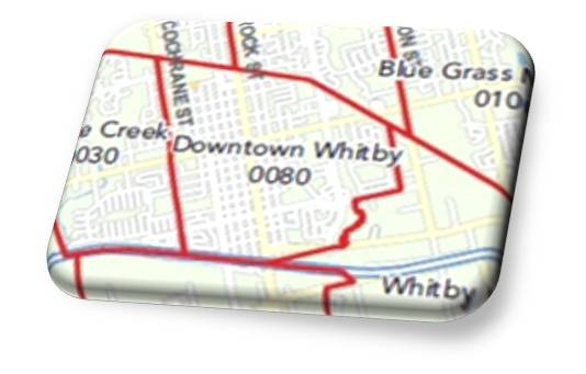 Downtown Whitby Map as per Real Estate Neighbourhoods