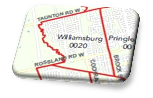 Williamsburg Real Estate Map used bt the Toronto Real Estate Board for Houses for sale on MLS